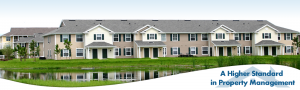 condominiums with pond in front